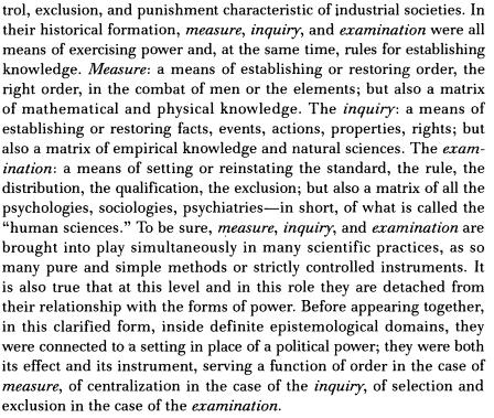 Foucault on Measure, inquiry, examination…