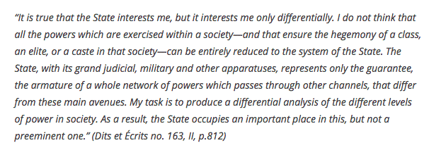 Foucault on the state as…
