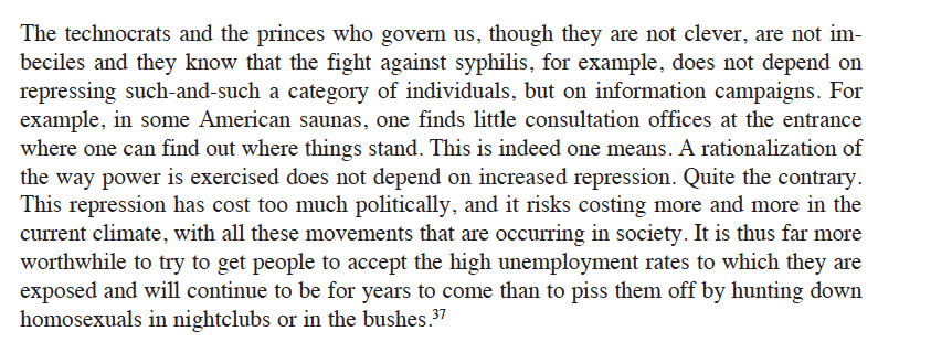 Audie brilliantly pinpoints Foucault's cost-benefit…