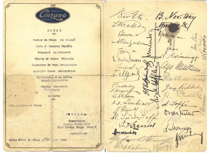 Menu signed in April 1922…