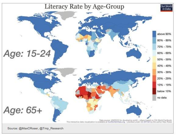 Huge progress in global literacy…