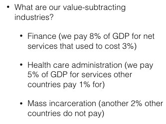 On America's value subtracting industries…