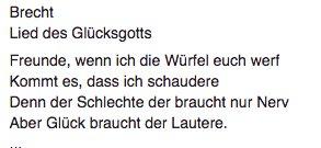 Brecht: god rolls the dice…