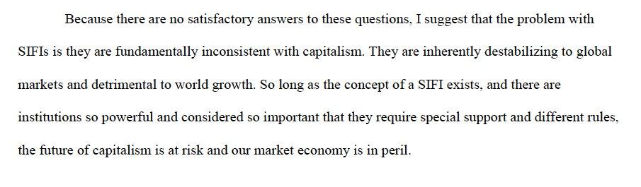 "Hoenig 2011: ""SIFI are fundamentally…"