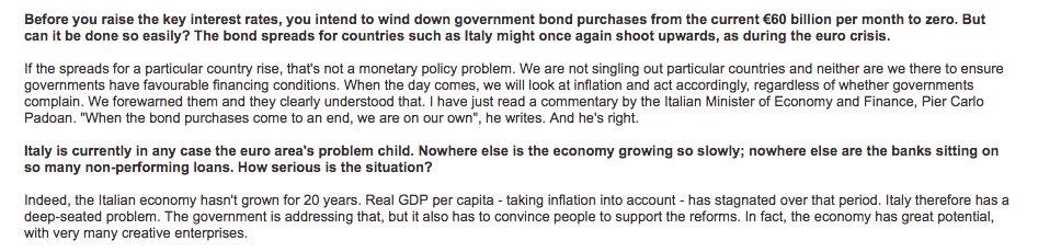"Praet/ECB on Italy: ""When the…"