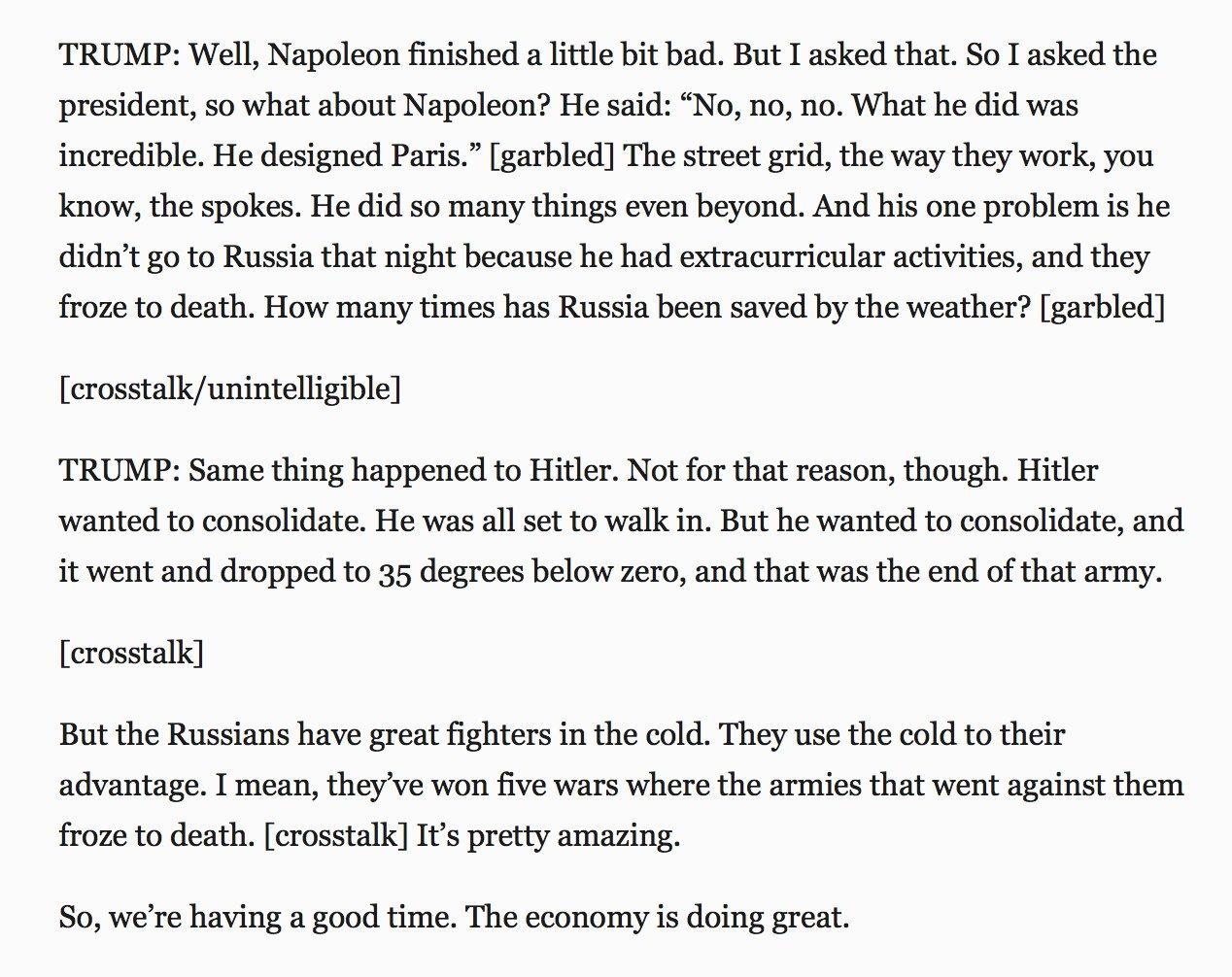 RT @BraddJaffy: Trump on Napoleon,…