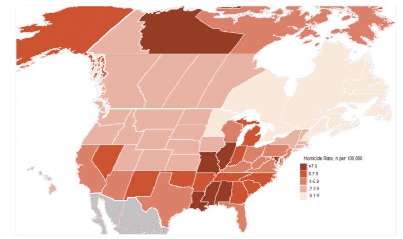 Homicide rates across North America…