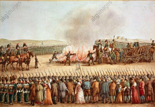 Continental blockade: burning English cloth…