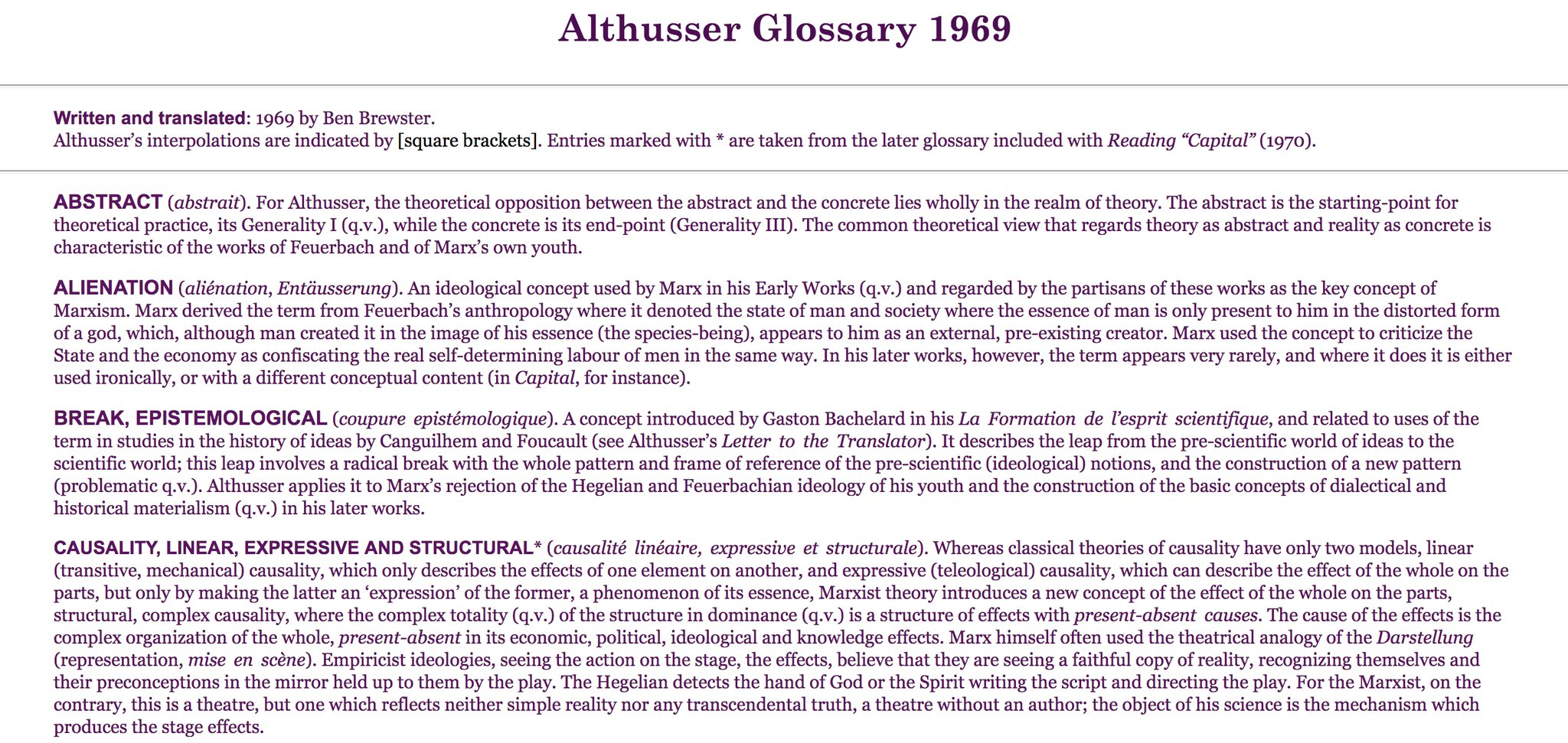 This Althusser glossary from 1969…