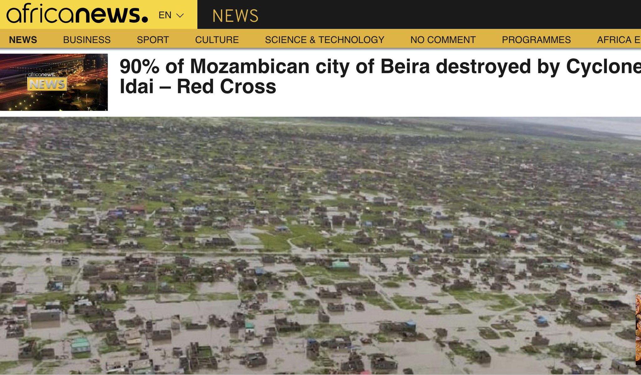 A cyclone has destroyed 90%…