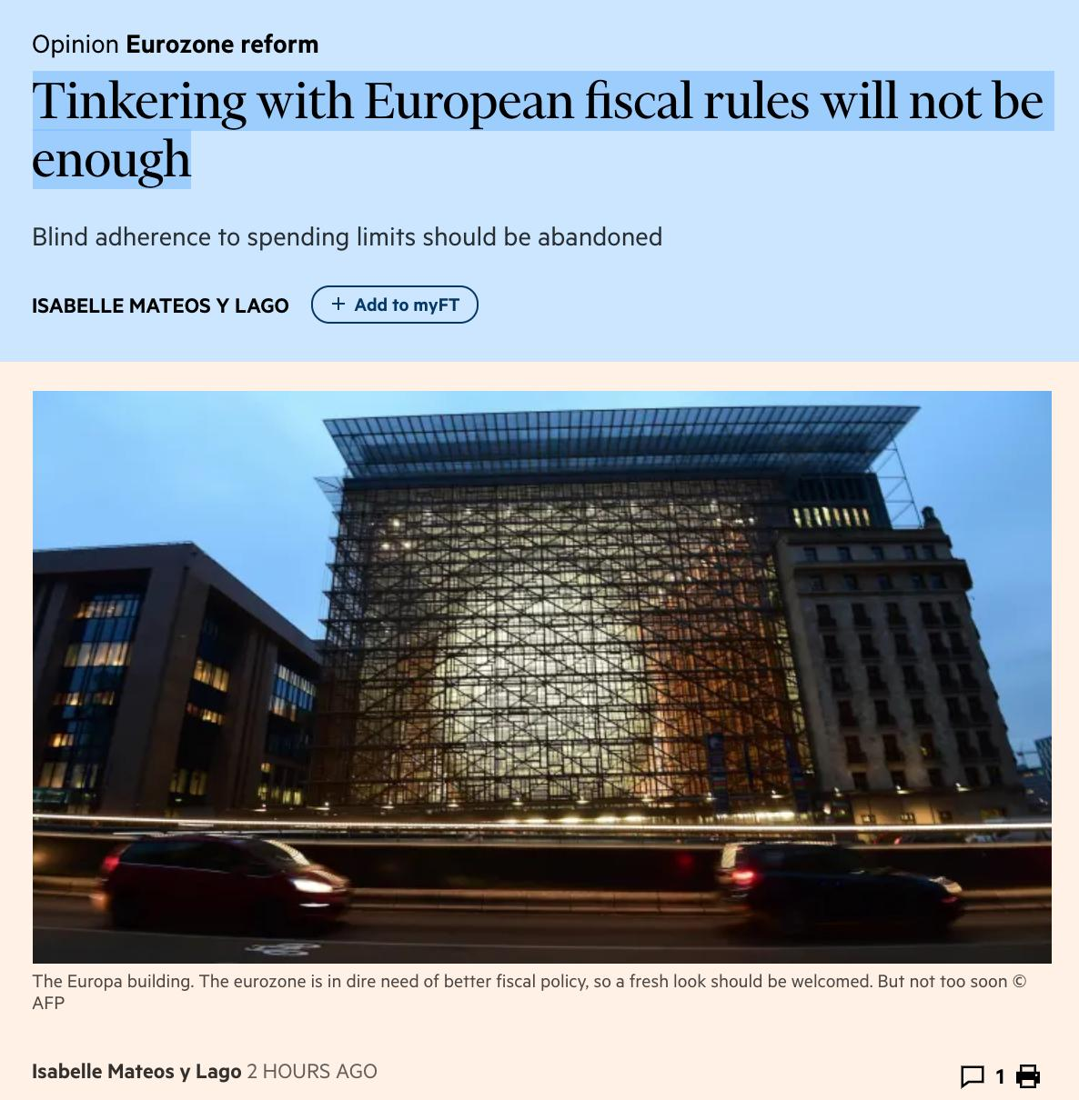Tinkering with European fiscal rules…