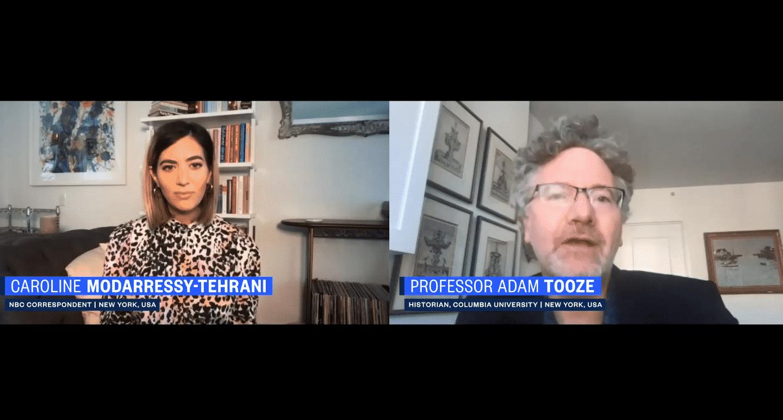 Caroline Modarressy-Tehrani and Adam Tooze speaking over video
