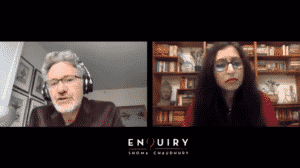 Adam Tooze and Shoma Chaudhury speaking over video