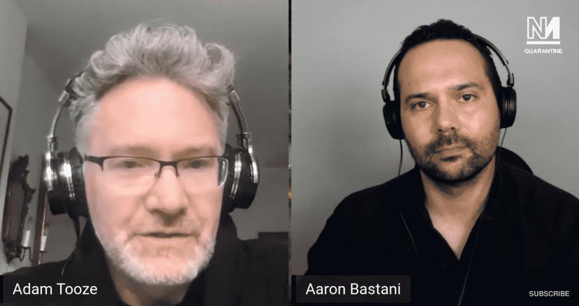 Adam Tooze and Aaron Bastani speaking over video
