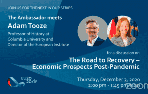 Cover photo for talk with title and photos of Adam Tooze and Ambassador Haber